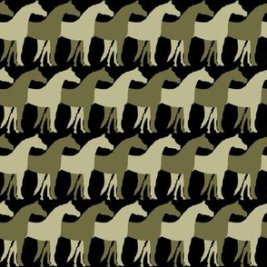 Two Inch Back to Nature Green and Dark Back to Nature Green Overlapping Horses on Black