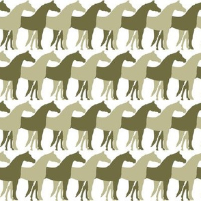 Two Inch Back to Nature Green and Dark Back to Nature Green Overlapping Horses on White