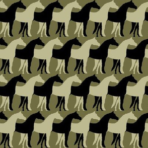 Two Inch Black and Back to Nature Green Overlapping Horses on Dark Back to Nature Green
