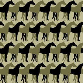 Two Inch Black and Dark Back to Nature Green Overlapping Horses on Back to Nature Green