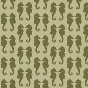 Dark Back to Nature Green Seahorses on Back to Nature Green