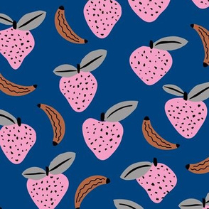 Fruity garden paper cut fruit Scandinavian style strawberry banana smoothie botanical minimal trend design classic blue pink