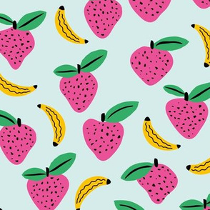 Fruity garden paper cut fruit Scandinavian style strawberry banana smoothie botanical minimal trend design spring mint pink yellow