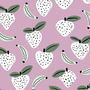 Fruity garden paper cut fruit Scandinavian style strawberry banana smoothie botanical minimal trend design spring lilac mint green