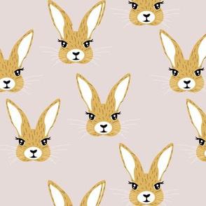 Baby rabbit illustration spring and easter animals hare  bunny design gender neutral ochre