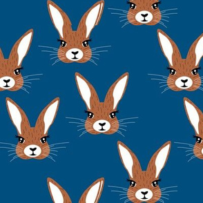 Baby rabbit illustration spring and easter animals hare  bunny design boys classic blue brown