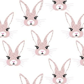 Baby rabbit illustration spring and easter animals hare  bunny design pastel beige pink girls