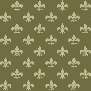 One Inch Back to Nature Green Fleur-de-lis on Dark Back to Nature Green
