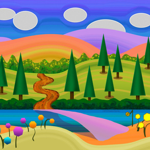 Crayon Country Abstract Landscape Wall Hanging