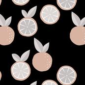 Fruity garden paper cut oranges fruit Scandinavian style strawberry banana smoothie botanical minimal trend design spring citrus orange gray