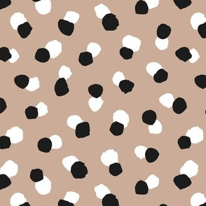 Abstract spots and dots abstract animal print trend design black and white sand neutral