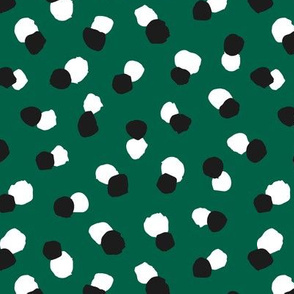 Abstract spots and dots abstract animal print trend design St Patrick's Day black and white forest green