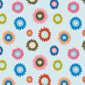 Confetti Daisies on Blue