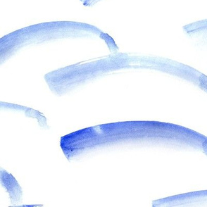 Blue watercolor arch brush strokes ♥ large scale painted minimalistic design for modern home decor, bedding, nursery