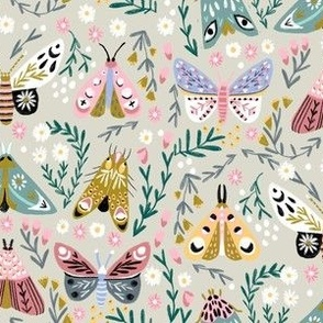 butterflies fabric - spring floral, spring butterflies, easter, baby girl, baby, feminine floral - khaki