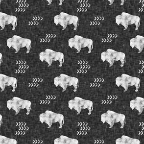 (small scale) distressed buffalo on dark grey linen C19Bs