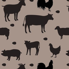Farm Animals Black Taupe Med
