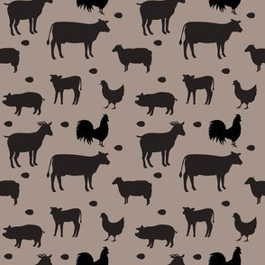 Farm Animals Black Taupe Sm