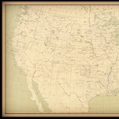 USA vintage map in neutral colors, large FQ
