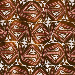 Aboriginal Bark  Design - Cocoa - Large Scale