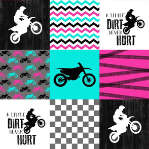 Motocross//Crazy Kid//A little Dirt Never Hurt//Pink&Turqouise  - Wholecloth Cheater Quilt