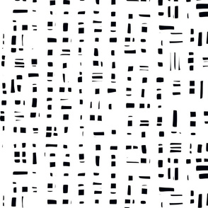 Abstract black and white graphic broken grid