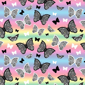 Butterfly Migration... #1 greyscale, B/W, pastel rainbow, large