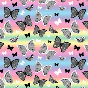 Butterfly Migration... #2 greyscale, B/W, pastel rainbow, large