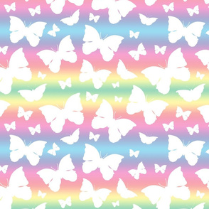 Butterfly Migration... white on pastel rainbows, Large
