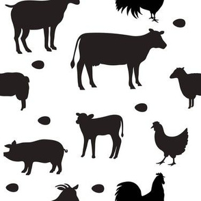 Farm Animals Black White Med