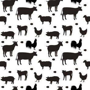 Farm Animals Black White Sm
