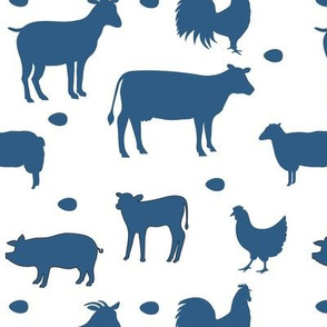 Farm Animals Blue White Med