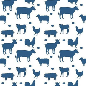 Farm Animals Blue White Sm