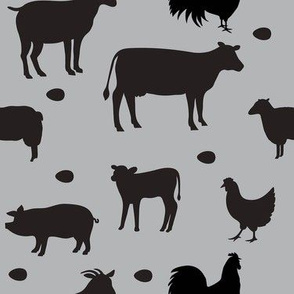 Farm Animals Gray Black Med