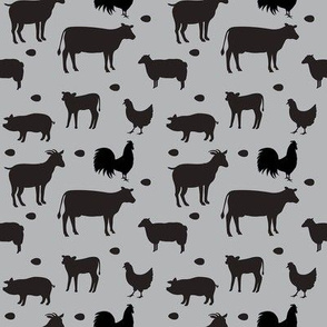 Farm Animals Gray Black Sm