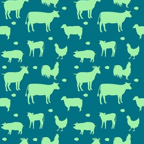 Farm Animals Lime Green Teal Sm