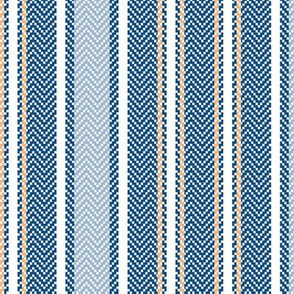 Classic Blue Ticking Stripe with Peach Accent