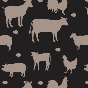 Farm Animals Taupe Gray Black Med