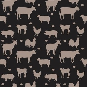 Farm Animals Taupe Gray Black Sm