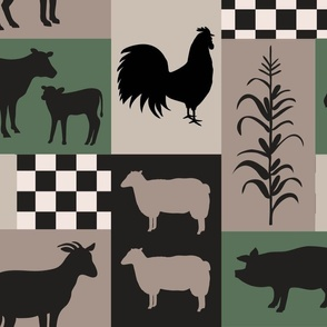 Farm Life Patch Green Taupe Black Lge