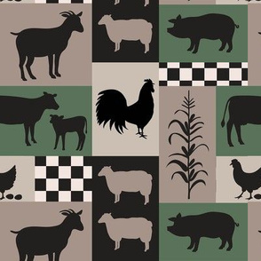 Farm Life Patch Green Taupe Black Sm
