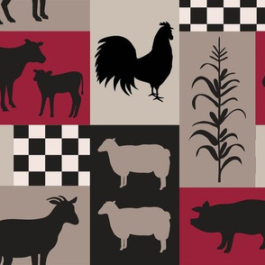 Farm Life Patch Red Taupe Black Med