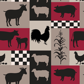 Farm Life Patch Red Taupe Black Sm