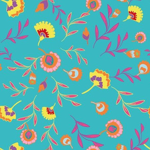 Psychedelic folk colorful ethnic flowers and leaves