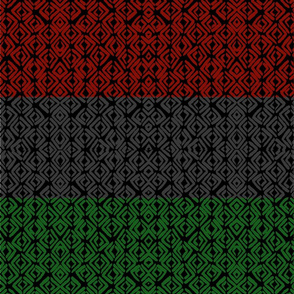 Red Black & Green African Geomtric