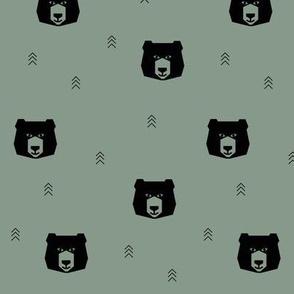 bear head - dusty green small scale
