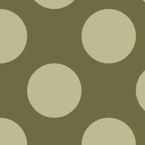 Three Inch Back to Nature Green Polka Dots on Dark Back to Nature Green