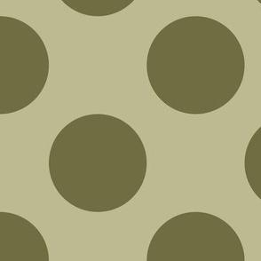 Three Inch Dark Back to Nature Green Polka Dots on Back to Nature Green