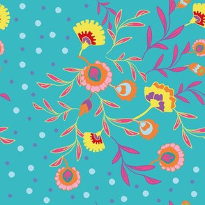 Psychedelic folk colorful ethnic flowers, leaves and dots