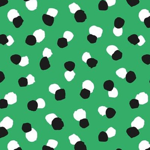 Abstract spots and dots abstract animal print trend St Patrick's Day design black and white irish green
